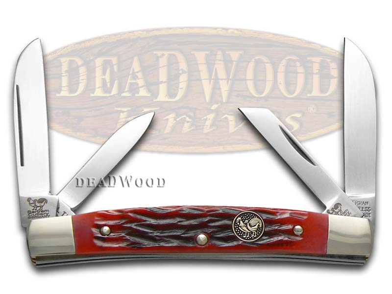 Hen & Rooster Jigged Red Bone Medium Congress Stainless Pocket Knife Knives