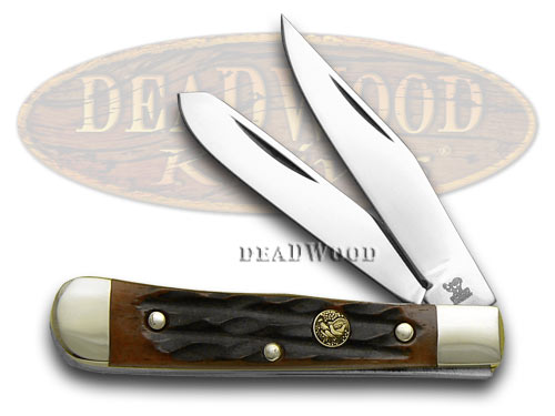 Hen & Rooster Autumn Sun Coast Jigged Bone Tiny Trapper Pocket Knife Knives