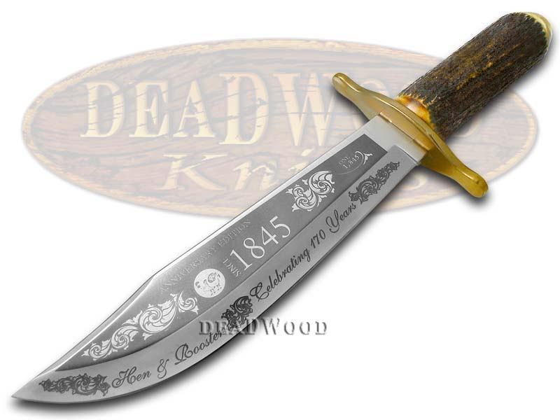 Hen & Rooster 170th Anniversary Burnt Deer Stag Bowie 1/1845 Stainless Knife Knives