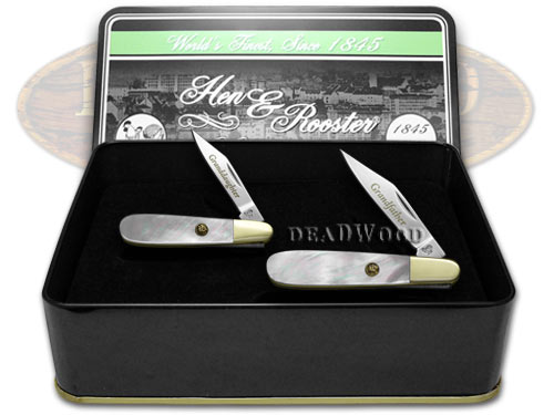 Hen & Rooster Grandfather Granddaughter Set Genuine Mother of Pearl 1/500 Barlow Pocket Knives