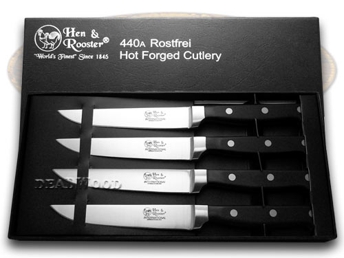 Hen & Rooster International 4 Piece Black Synthetic Kitchen Knife Set