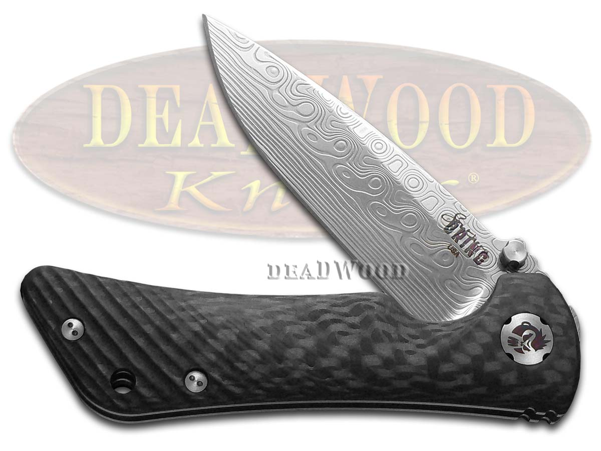Southern Grind Black Carbon-fiber Damascus Spider Monkey Pocket Knife Knives