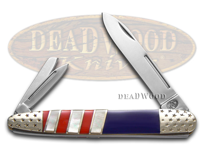 Silverhorse Exotic Stone American Flag Series Whittler Stainless Pocket Knife Knives