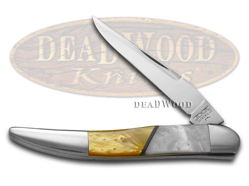 Schatt & Morgan Antique Gold and White Pearl Corelon Toothpick Stainless Pocket Knife Knives