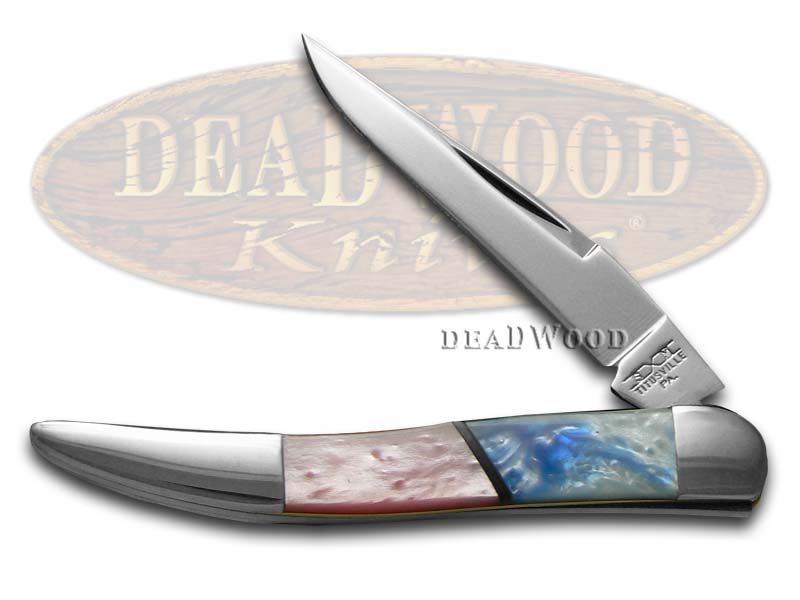 Schatt & Morgan Pink Pearl and Blue Luster Corelon Toothpick Stainless Pocket Knife Knives