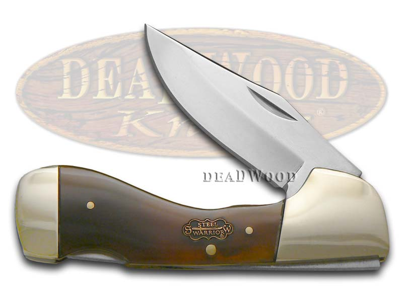 Steel Warrior Smooth Genuine Ox Horn Choctaw Lockback Stainless Pocket Knife Knives