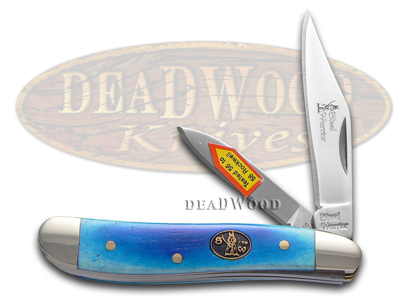 Steel Warrior Smooth Blue Bone Peanut Stainless Pocket Knife Knives