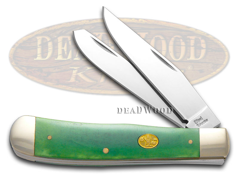 Steel Warrior Smooth Green Bone Trapper Stainless Pocket Knife Knives