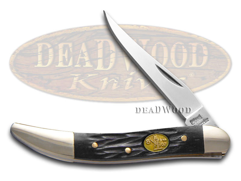 Steel Warrior Jigged Black Bone Small Toothpick Stainless Pocket Knife Knives