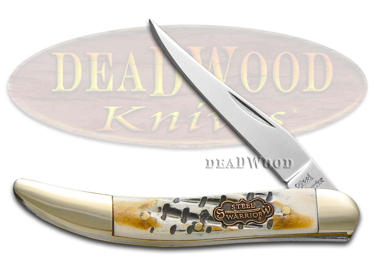 Steel Warrior Butter Rum Jigged Bone Toothpick Pocket Knife Knives