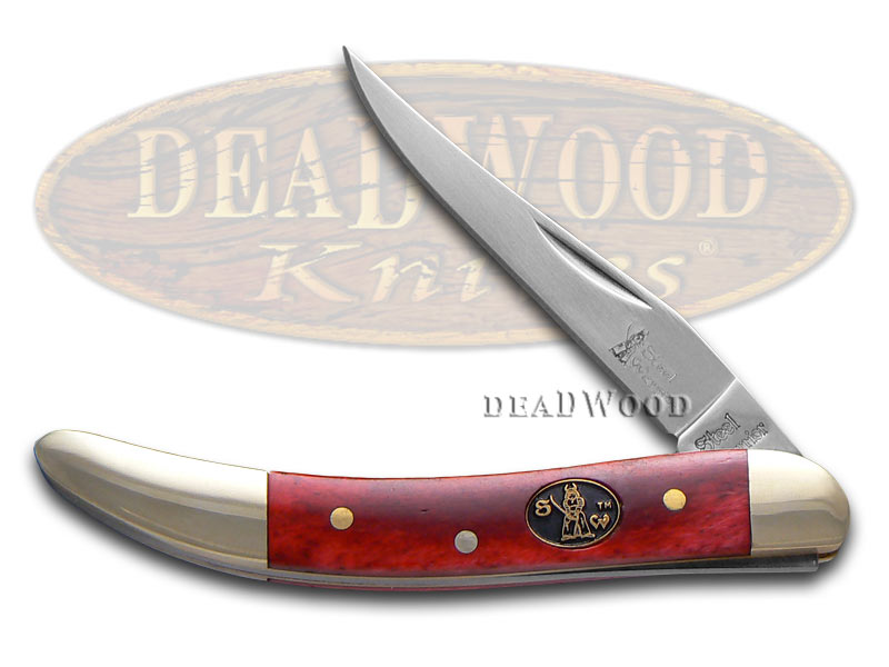 Steel Warrior Smooth Red Bone Toothpick Stainless Pocket Knife Knives