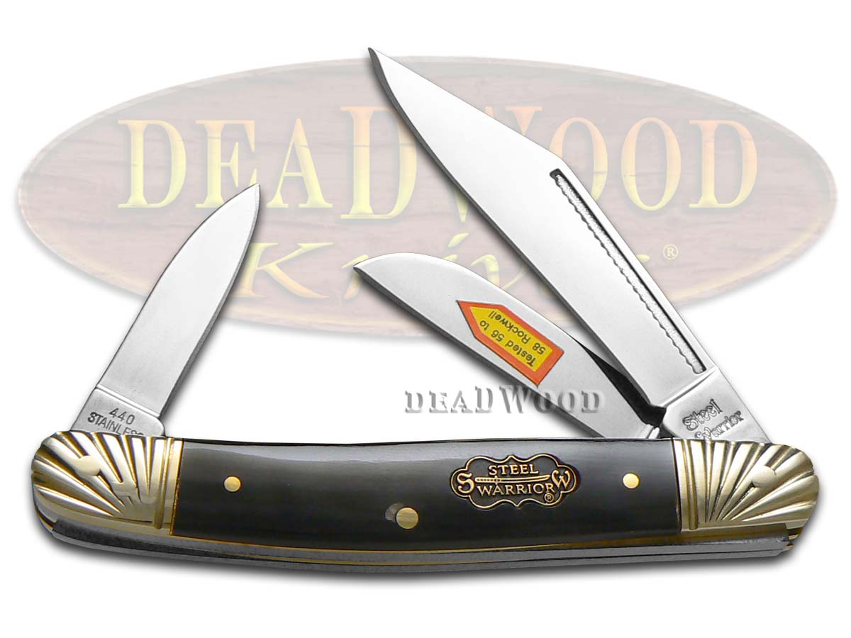Steel Warrior Buffalo Horn Stockman Pocket Knife Knives