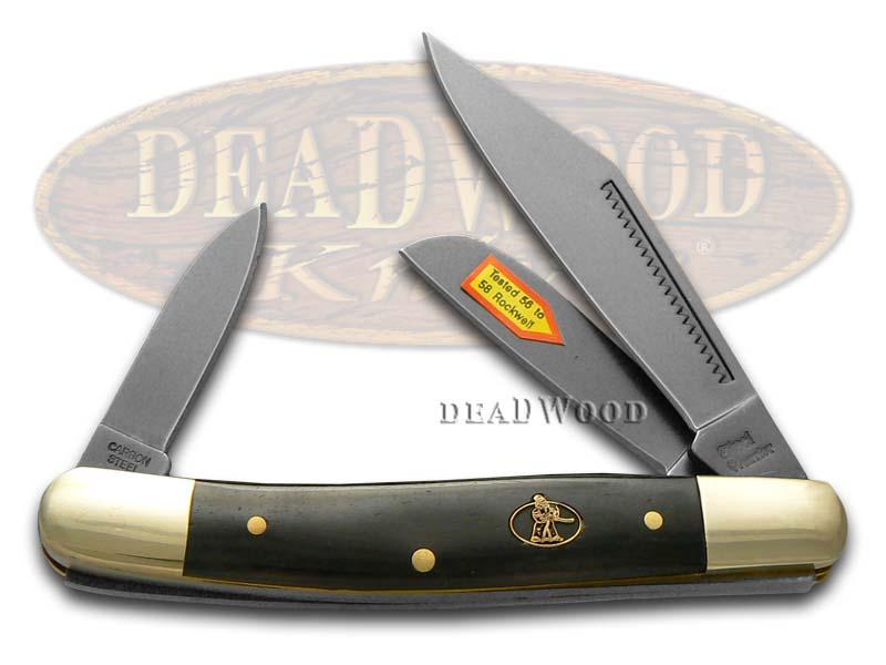 Steel Warrior Smooth Black Bone Stockman Carbon Steel Pocket Knife Knives