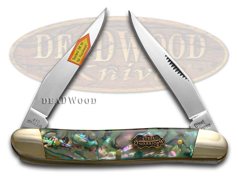 Steel Warrior Smooth Resin-coated Genuine Abalone Muskrat Stainless Pocket Knife Knives