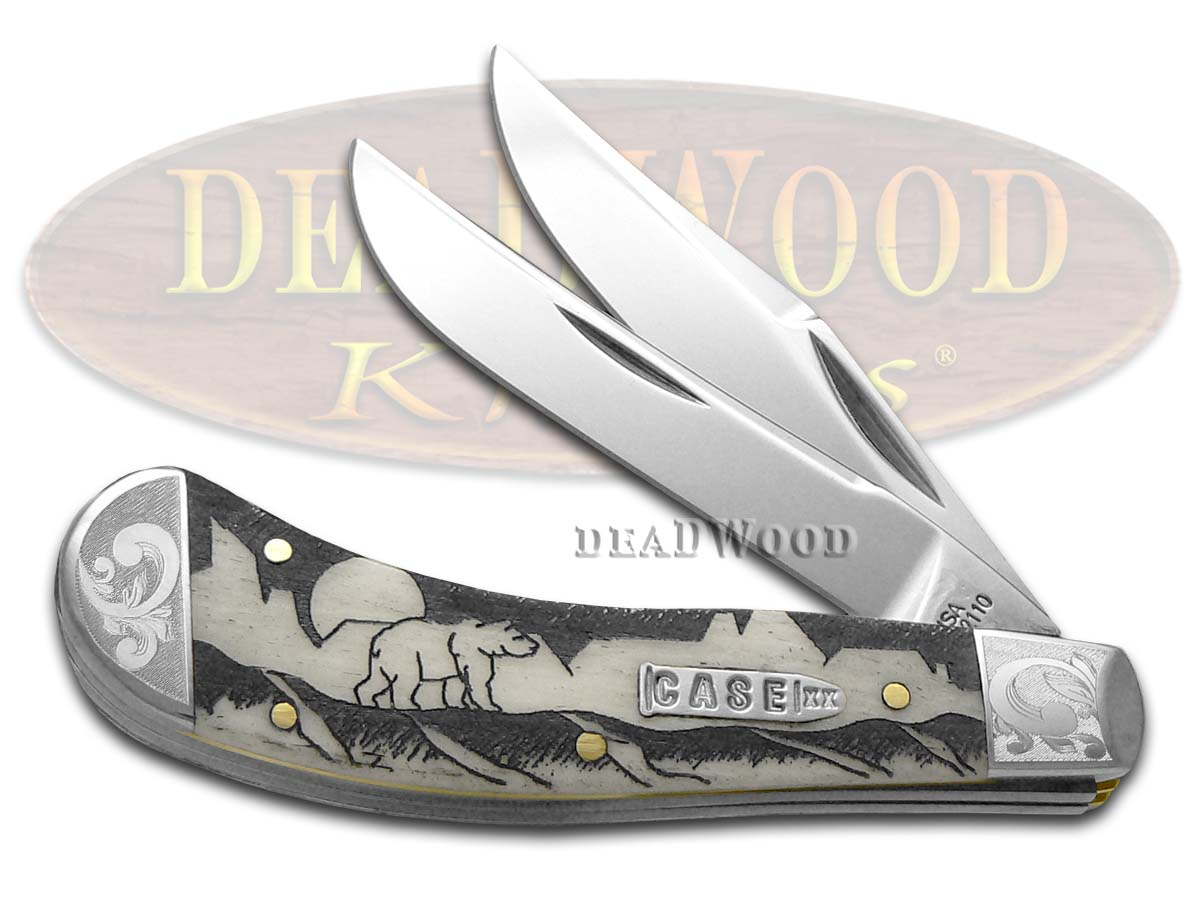 Case xx David Yellowhorse Grizzly Mountain Natural Bone Saddlehorn Scrolled 1/500 Pocket Knife