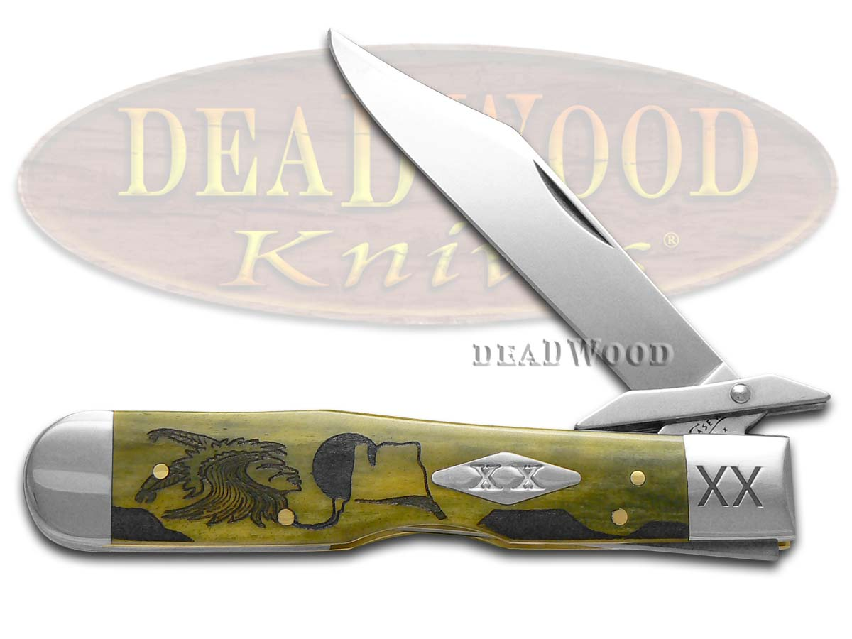 Case xx Yellowhorse Early Morning Singer Olive Green Bone Cheetah 1/500 Stainless Pocket Knife