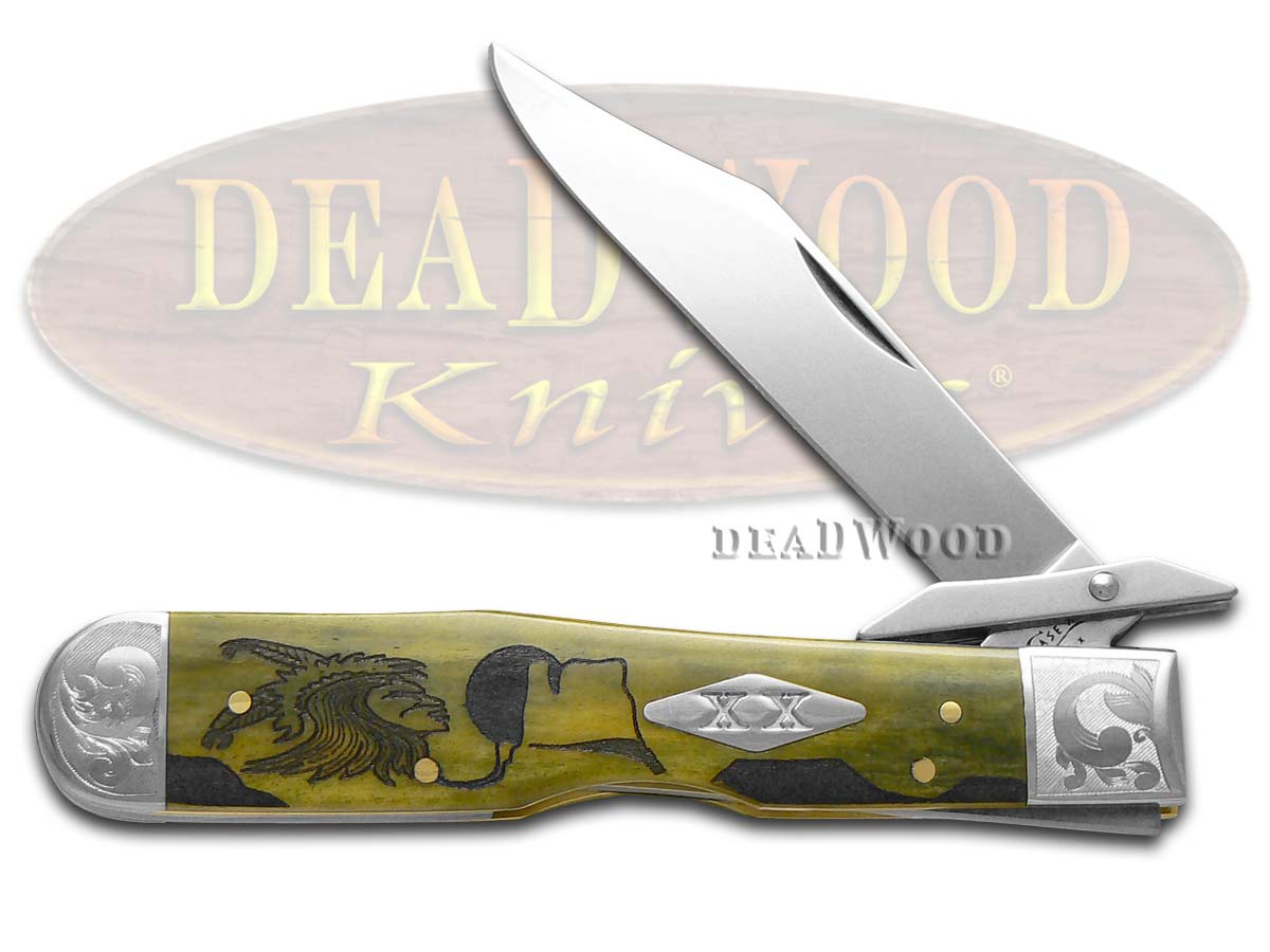 Case xx Yellowhorse Early Morning Singer Olive Green Bone Scrolled Cheetah 1/500 Pocket Knife