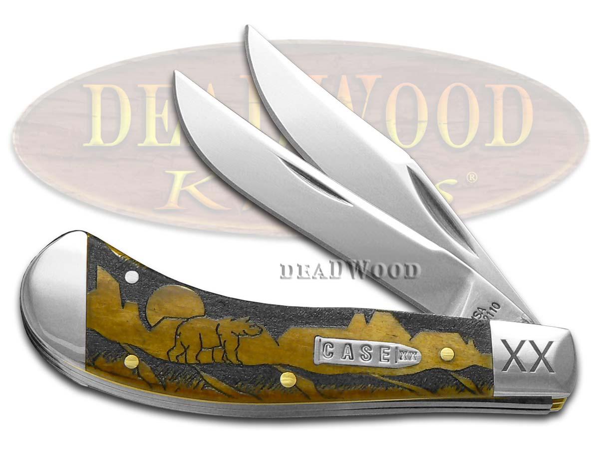 Case xx David Yellowhorse Grizzly Mountain Antique Bone Saddlehorn 1/500 Stainless Pocket Knife