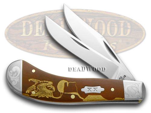 Case xx Yellowhorse Early Morning Singer Chestnut Bone 1/500 Scrolled Saddlehorn Pocket Knives