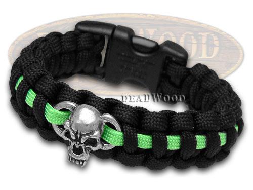 "PARACORD Wilson Tac Black and Neon Green Metal Skull 8"" Survival Bracelet"