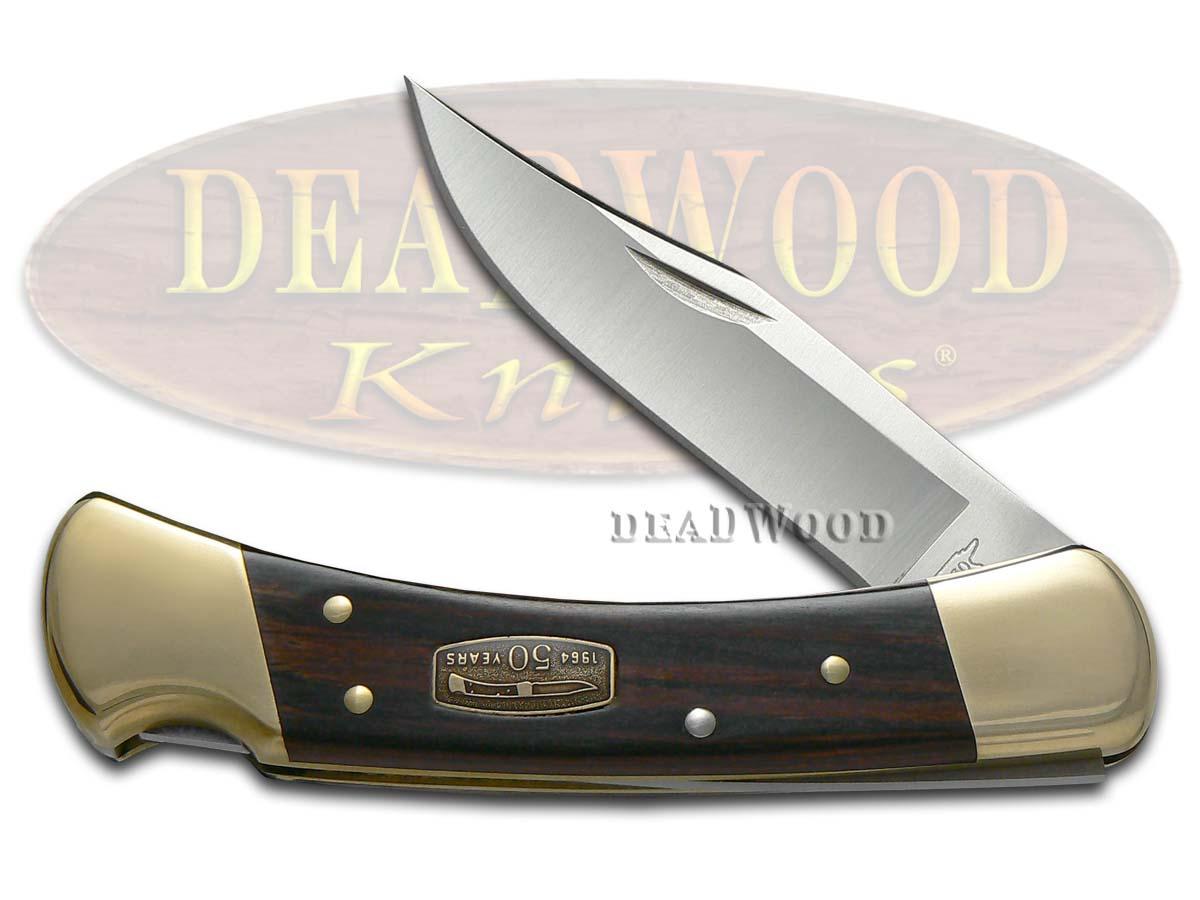Buck 110 50th Anniversary Ebony Diamond Wood Folding Hunter Stainless Pocket Knife