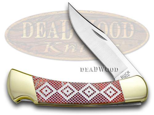 Buck 110 Custom Fire Feathers Corelon Diamondback 1/400 Pocket Knives