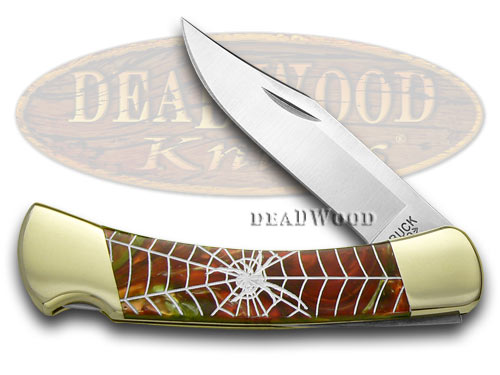 Buck 110 Custom Fire Mist Green Corelon Spider Web 1/400 Pocket Knives