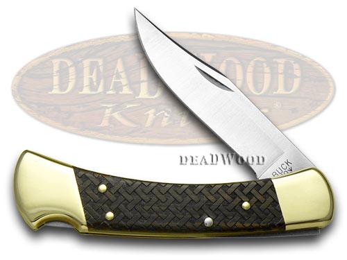 Buck 110 Basketweave 1/400 Folding Hunter Wooden Etched USA Custom Pocket Knife
