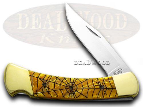 Buck 110 Custom Antique Gold Corelon Recluse 1/400 Fold Hunter Pocket Knives