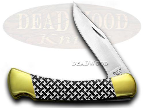 Buck 110 Custom Black Pearl Corelon Basketweave Hunter 1/400 Pocket Knife