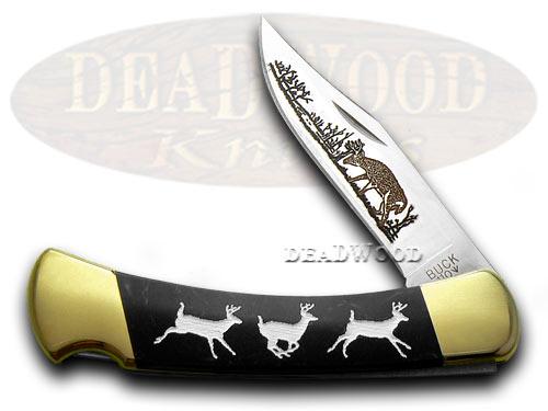 Buck 110 Custom Black Pearl Corelon Running Deer 1/400 Pocket Knife