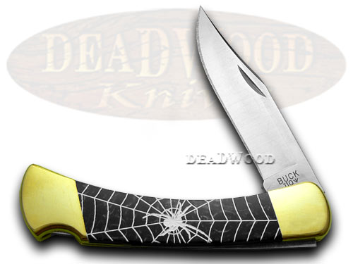 Buck 110 Custom Black Pearl Corelon Black Widow 1/400 Pocket Knives