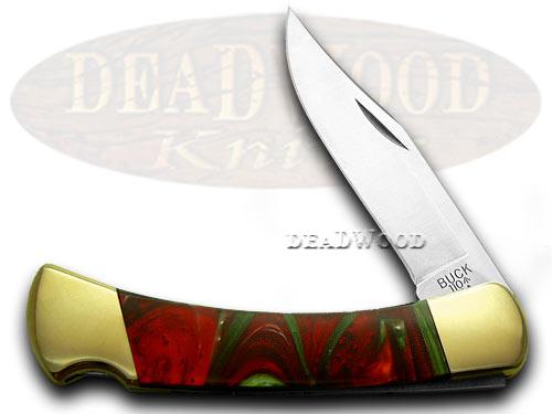 Buck 110 Custom Fire Mist Green Corelon Folding Hunter Pocket Knife