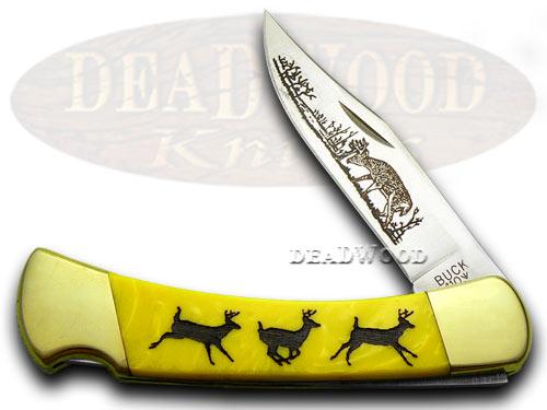 Buck 110 Custom Yellow Corelon Running Deer 1/400 Pocket Knives
