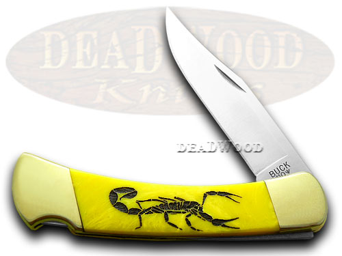 Buck 110 Custom Yellow Corelon Scorpion 1/400 Hunter Pocket Knives
