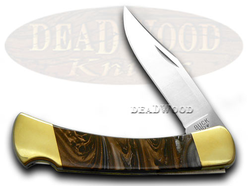 Buck 110 Custom Marble Fudge Corelon Folding Hunter Pocket Knives