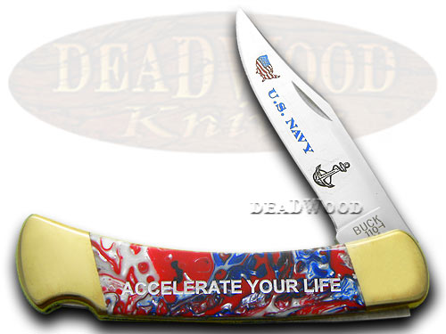 Buck 110 Custom Star Spangled Navy Folding Hunter 1/400 Pocket Knife