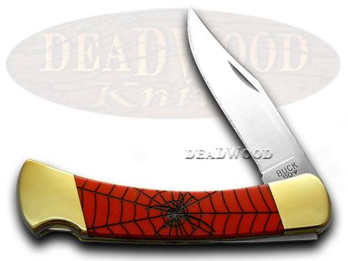 Buck 110 Custom Red Corelon Black Widow Folding Hunter Pocket Knives