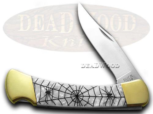 Buck 110 Folding Hunter Custom White Pearl Corelon Recluse 1/400 Knife