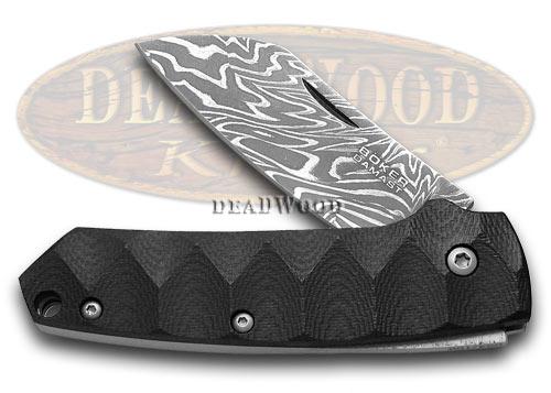 Boker Tree Brand Cox Damascus Folder Knife Black G-10 & Titanium 1/199 110618DAM