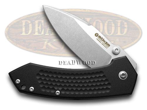 Boker Tree Brand Textured Black Aluminum Solo Folder Pocket Knife Knives