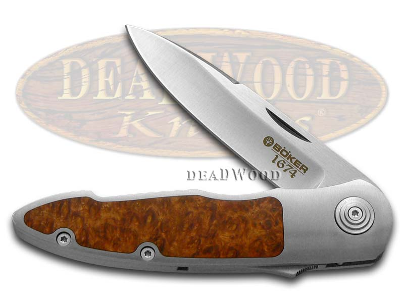 Boker Tree Brand 1674 Steel and Amboina Wood Gorski Slide Lock 1/343 Pocket Knife