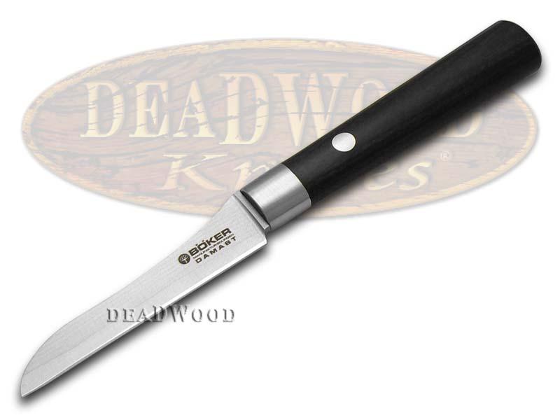 Boker Tree Brand Damascus Premium Kitchen Cutlery Black Olive Wood Vegetable Knife