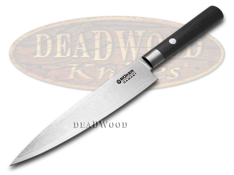 Boker Tree Brand Damascus Premium Kitchen Cutlery Smooth Black Olive Wood Utility Knife Knives