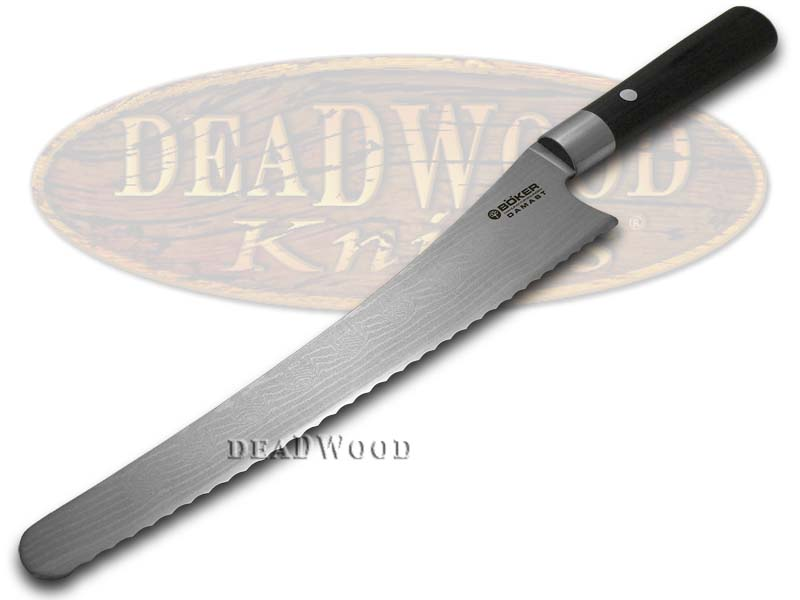Boker Tree Brand Damascus Premium Kitchen Cutlery Smooth Black Olive Wood Bread Knife Knives