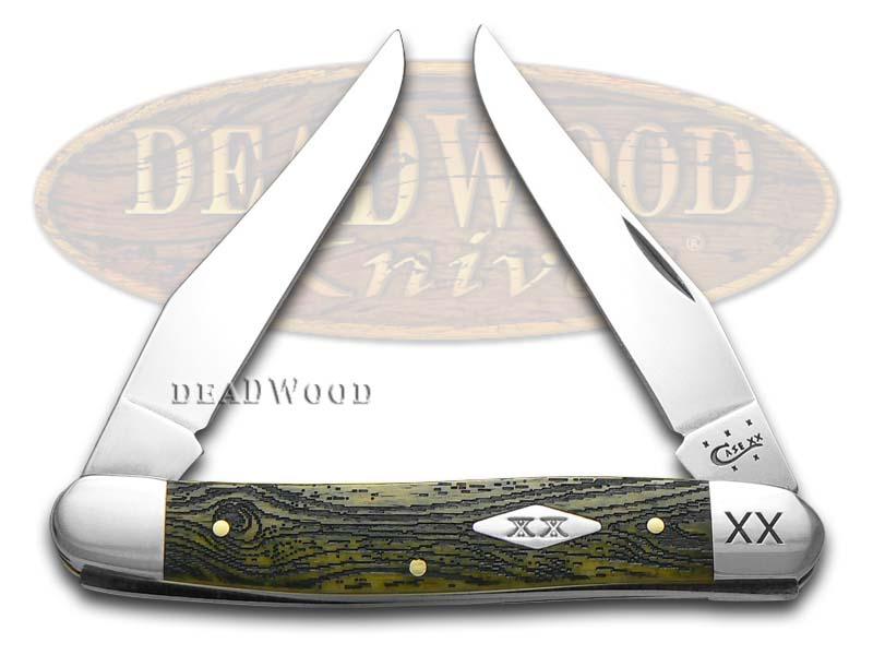 Case XX Wood Grain Olive Green Bone Muskrat 1/500 Stainless Pocket Knife Knives