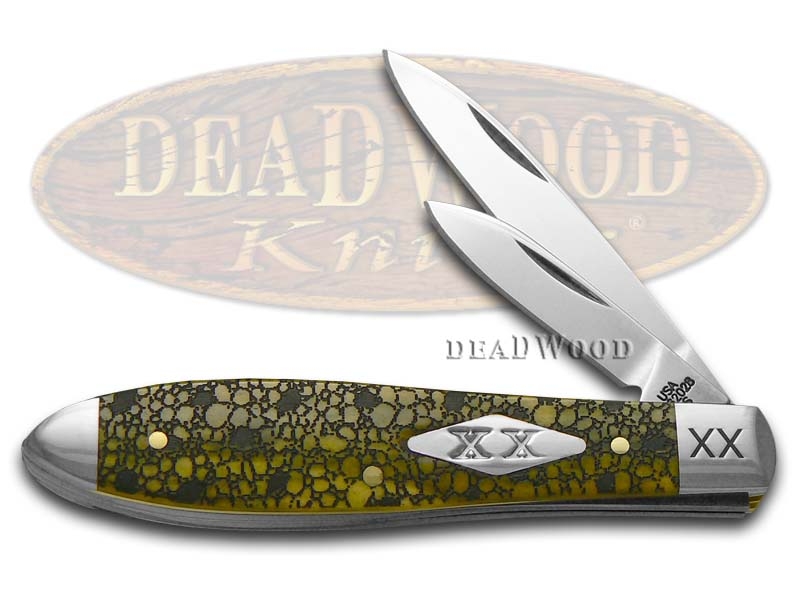 Case XX Lizard Skin Olive Green Bone Tear Drop Jack 1/600 Stainless Pocket Knife Knives