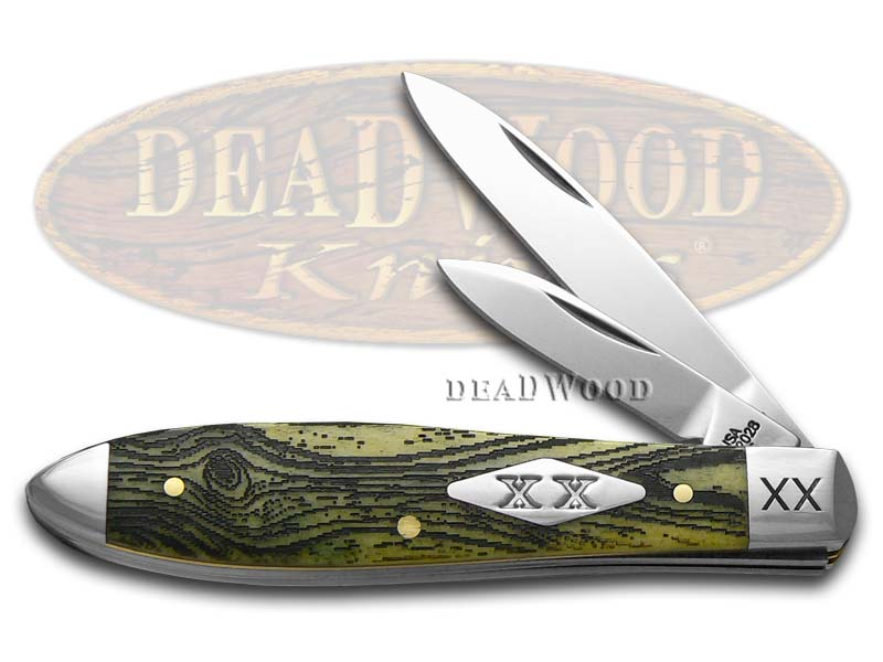 Case XX Wood Grain Olive Green Bone Tear Drop Jack 1/500 Stainless Pocket Knife Knives