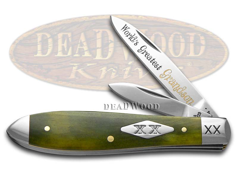 Case XX World's Greatest Grandson Olive Green Bone Tear Drop Jack 1/500 Pocket Knife Knives
