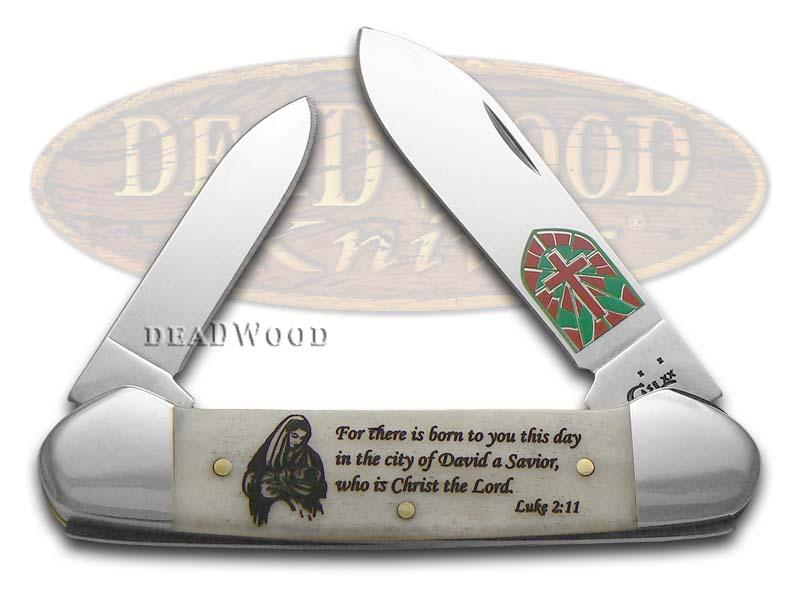 Case XX Christmas Smooth Natural Bone Canoe Stainless Pocket Knife